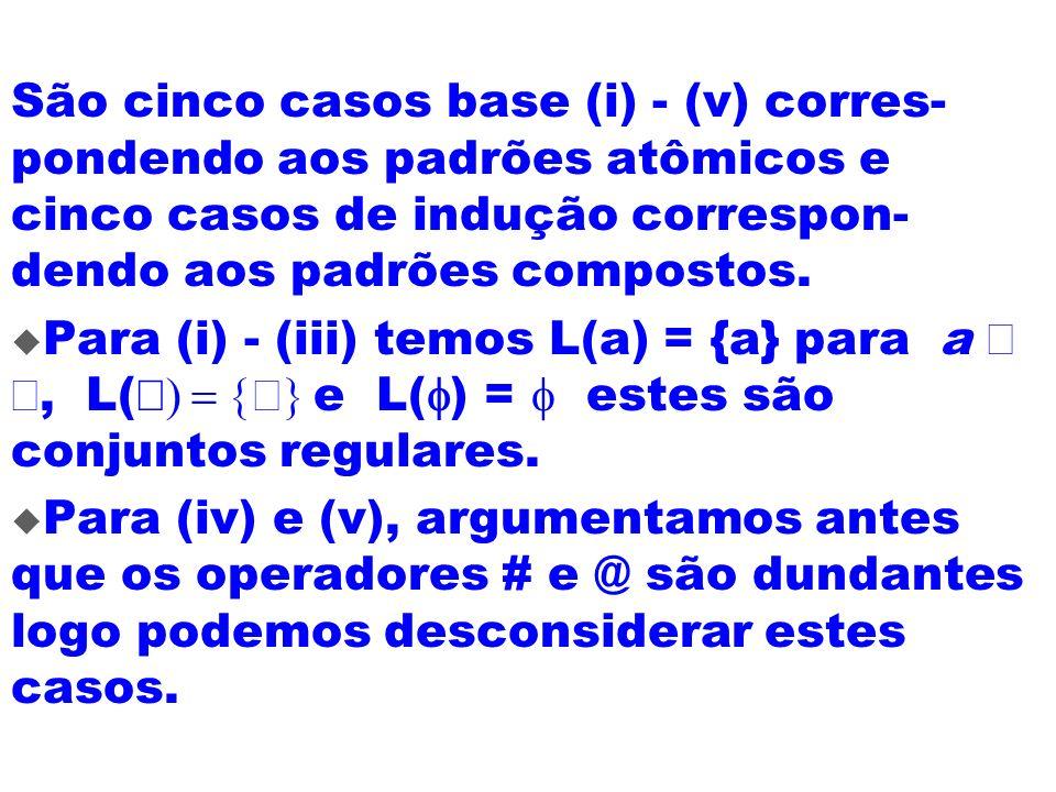 São cinco casos base (i) - (v) corres- pondendo aos padrões atômicos e cinco casos de indução correspon- dendo aos padrões compostos. Para (i) - (iii)