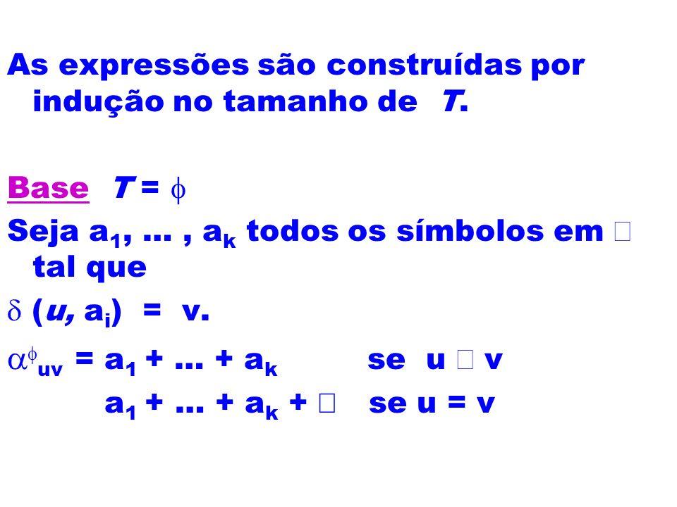 As expressões são construídas por indução no tamanho de T. Base T = Seja a 1, …, a k todos os símbolos em tal que (u, a i ) = v. uv = a 1 + … + a k se