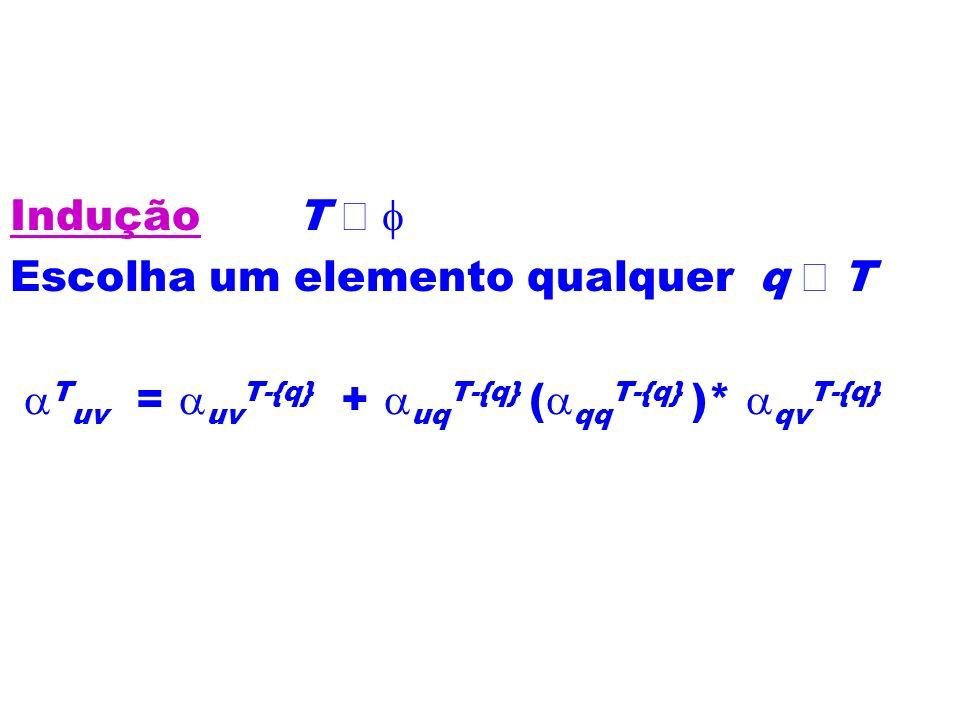 Indução T Escolha um elemento qualquer q T T uv = uv T-{q} + uq T-{q} ( qq T-{q} )* qv T-{q}