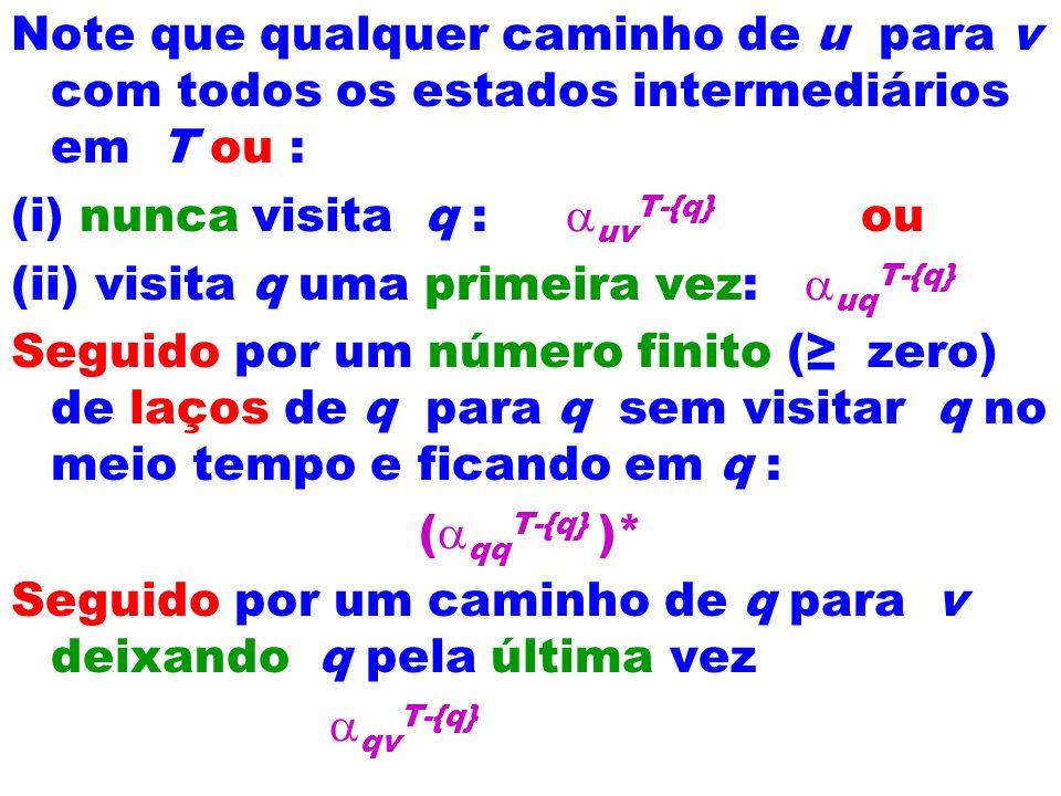 Note que qualquer caminho de u para v com todos os estados intermediários em T ou : (i) nunca visita q : uv T-{q} ou (ii) visita q uma primeira vez: u