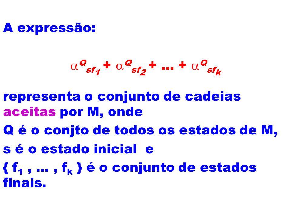 A expressão: Q sf 1 + Q sf 2 + … + Q sf k representa o conjunto de cadeias aceitas por M, onde Q é o conjto de todos os estados de M, s é o estado ini
