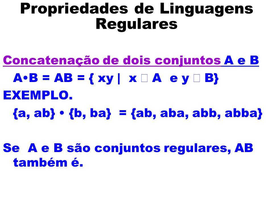 Propriedades de Linguagens Regulares Concatenação de dois conjuntos A e B AB = AB = { xy | x A e y B} EXEMPLO. {a, ab} {b, ba} = {ab, aba, abb, abba}
