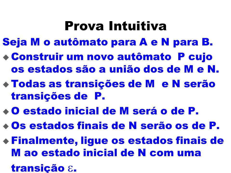 Prova Intuitiva Seja M o autômato para A e N para B. Construir um novo autômato P cujo os estados são a união dos de M e N. Todas as transições de M e
