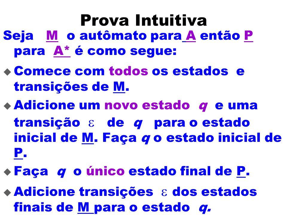 Prova Intuitiva Seja M o autômato para A então P para A* é como segue: Comece com todos os estados e transições de M. Adicione um novo estado q e uma