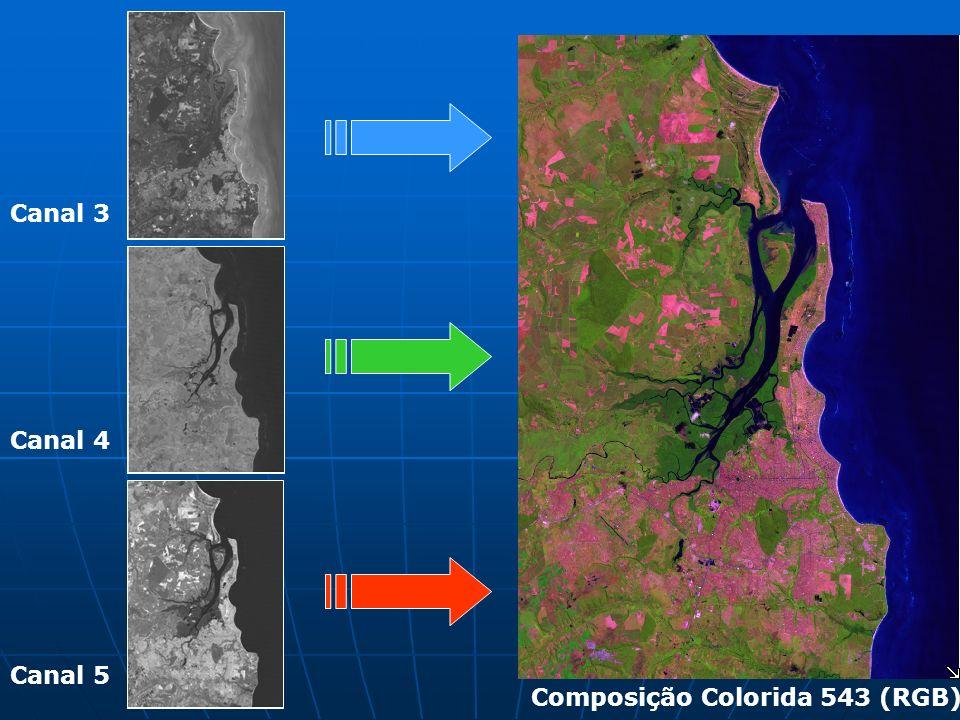 Canal 5 Canal 4 Canal 3 Composição Colorida 453(RGB)