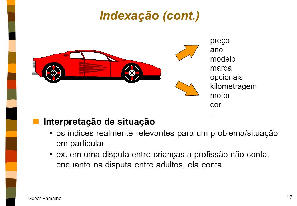 Geber Ramalho 16 Indexação nObjetivo: dar ao sistema conhecimento sobre como estocar e comparar (match) casos nVocabulário de indexação índice = atrib