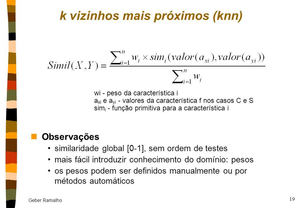 Geber Ramalho 18 nA recuperação é baseada na similaridade entre caso alvo e casos fontes Dois tipos de cálculo de similaridade: explícito ou indireto
