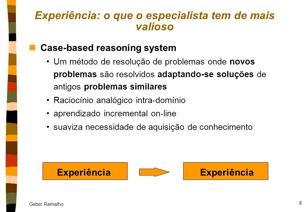 Geber Ramalho 7 nSistemas Especialistas convencionais: n(alguns) Sistemas Especialistas de segunda geração: Experiência Experiência: o que o especiali