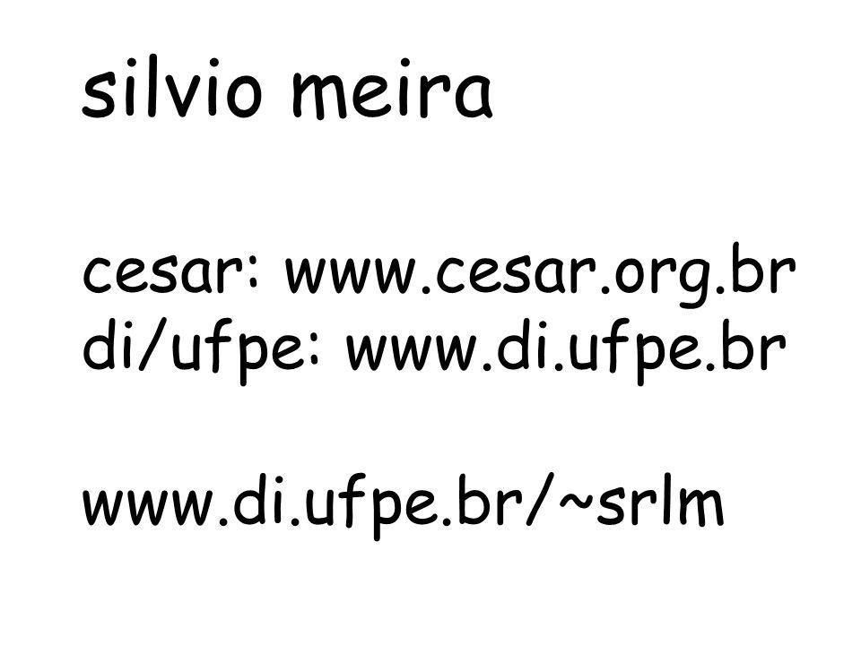 silvio meira cesar: www.cesar.org.br di/ufpe: www.di.ufpe.br www.di.ufpe.br/~srlm