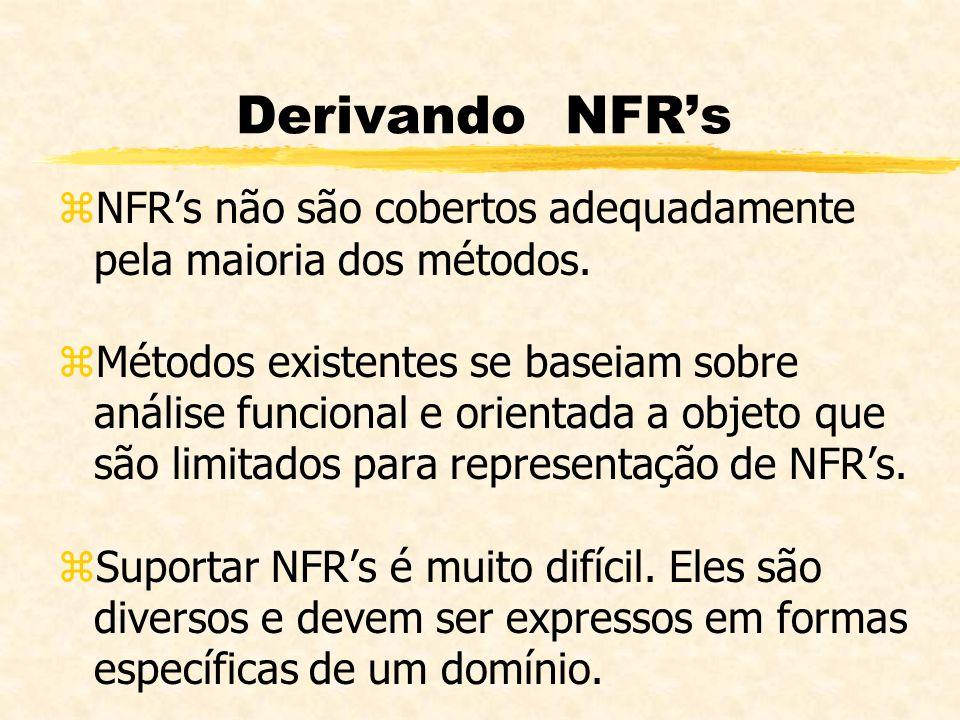 Derivando NFRs zNFRs não são cobertos adequadamente pela maioria dos métodos. zMétodos existentes se baseiam sobre análise funcional e orientada a obj