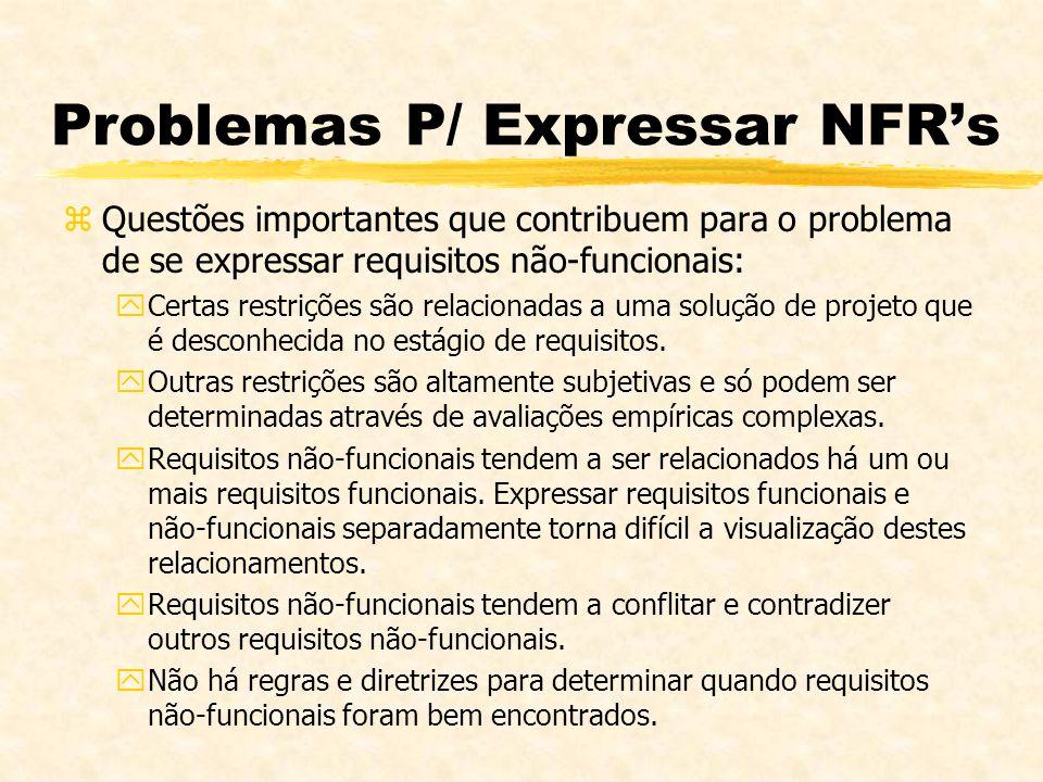 Problemas P/ Expressar NFRs zQuestões importantes que contribuem para o problema de se expressar requisitos não-funcionais: yCertas restrições são rel