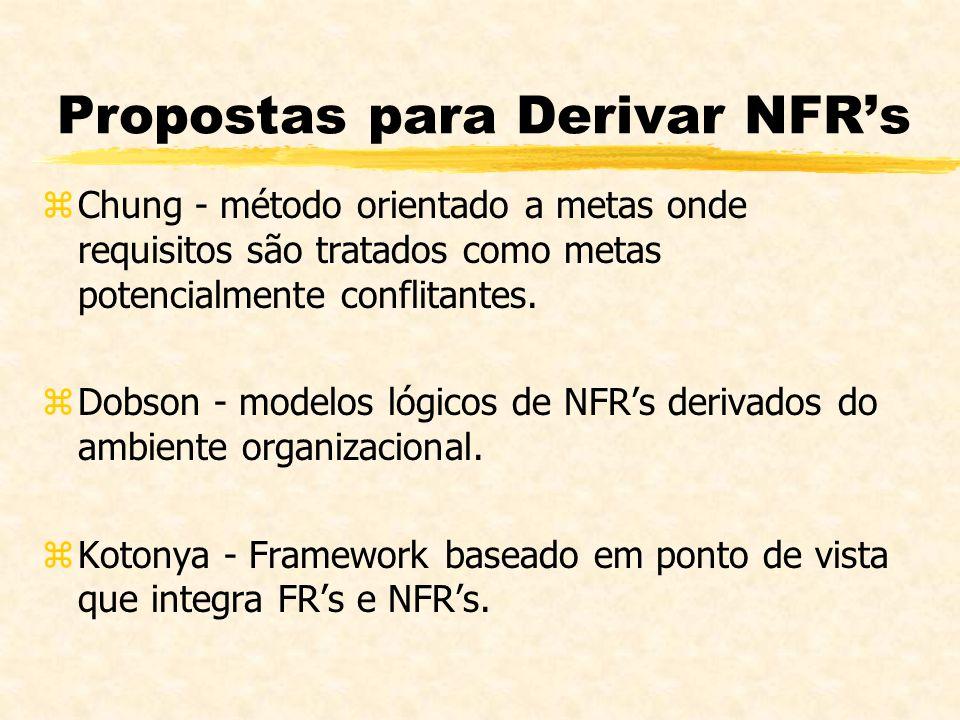 Propostas para Derivar NFRs zChung - método orientado a metas onde requisitos são tratados como metas potencialmente conflitantes. zDobson - modelos l