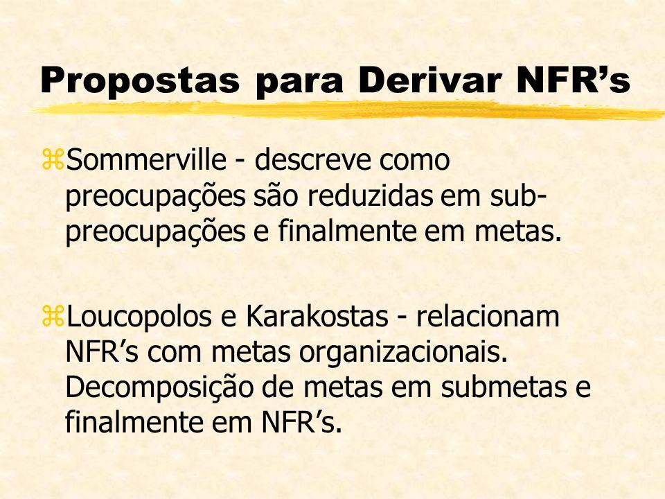 Propostas para Derivar NFRs zSommerville - descreve como preocupações são reduzidas em sub- preocupações e finalmente em metas. zLoucopolos e Karakost