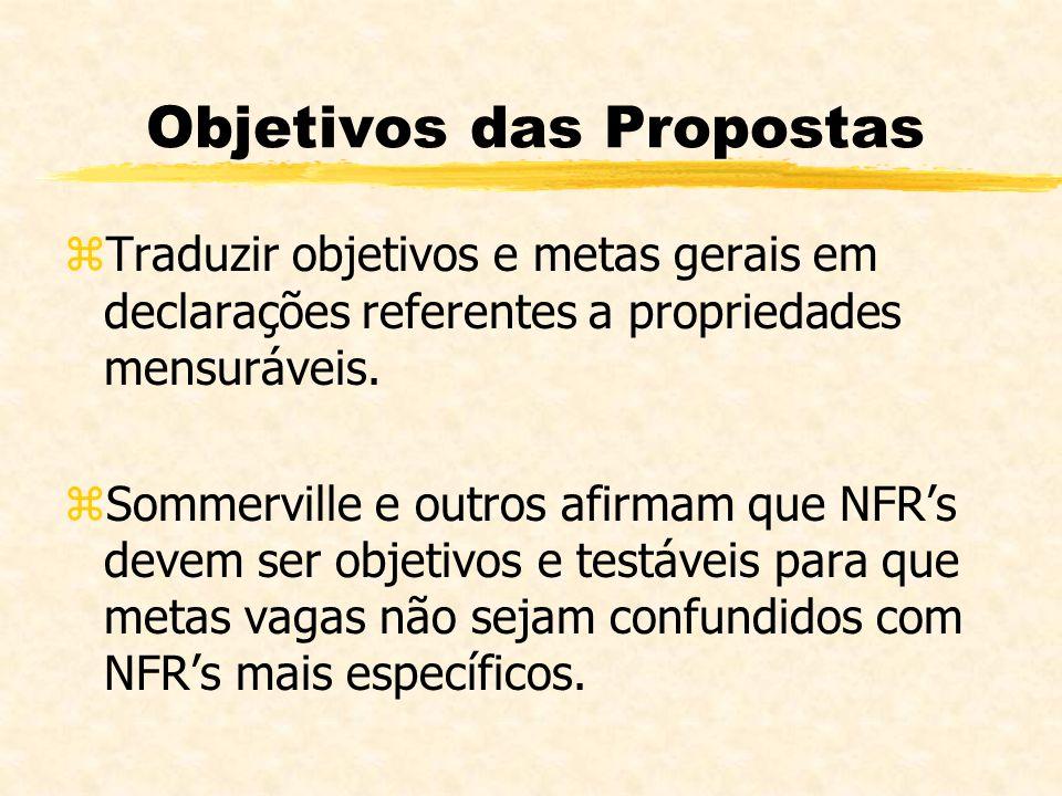 Objetivos das Propostas zTraduzir objetivos e metas gerais em declarações referentes a propriedades mensuráveis. zSommerville e outros afirmam que NFR