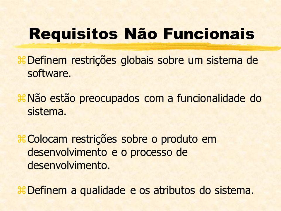 Requisitos Não Funcionais zDefinem restrições globais sobre um sistema de software. zNão estão preocupados com a funcionalidade do sistema. zColocam r
