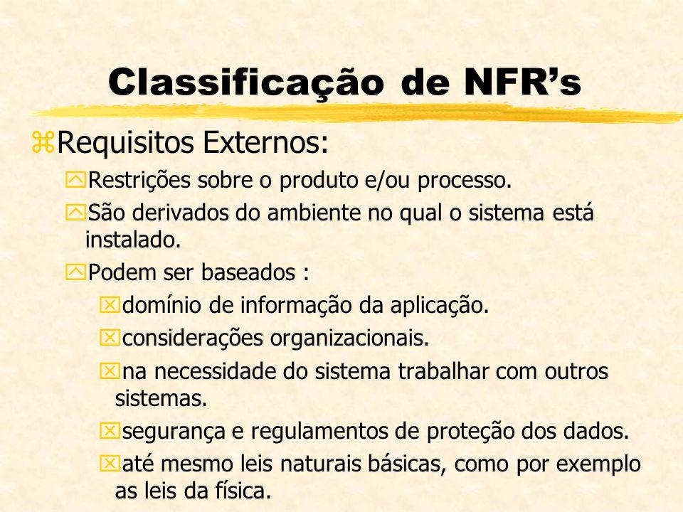 Classificação de NFRs zRequisitos Externos: yRestrições sobre o produto e/ou processo. ySão derivados do ambiente no qual o sistema está instalado. yP