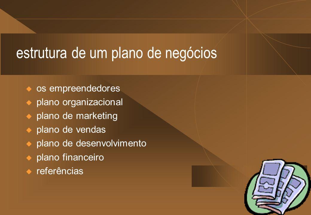 estrutura de um plano de negócios os empreendedores plano organizacional plano de marketing plano de vendas plano de desenvolvimento plano financeiro referências