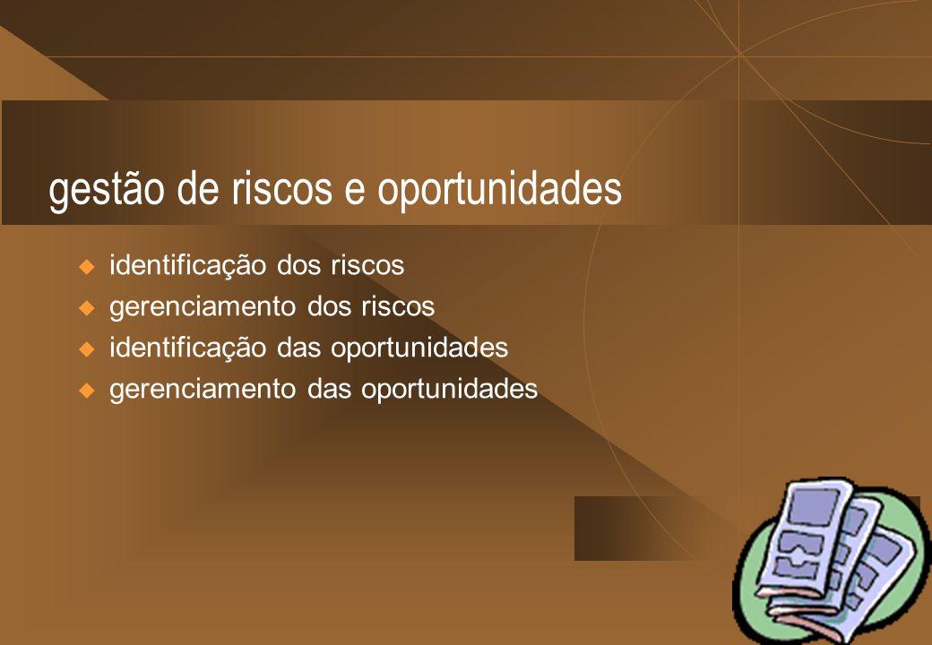 gestão de riscos e oportunidades identificação dos riscos gerenciamento dos riscos identificação das oportunidades gerenciamento das oportunidades