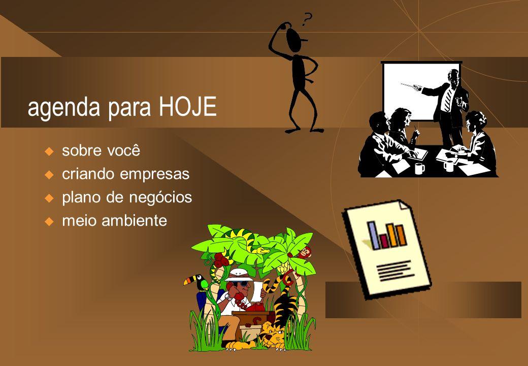 agenda para HOJE sobre você criando empresas plano de negócios meio ambiente