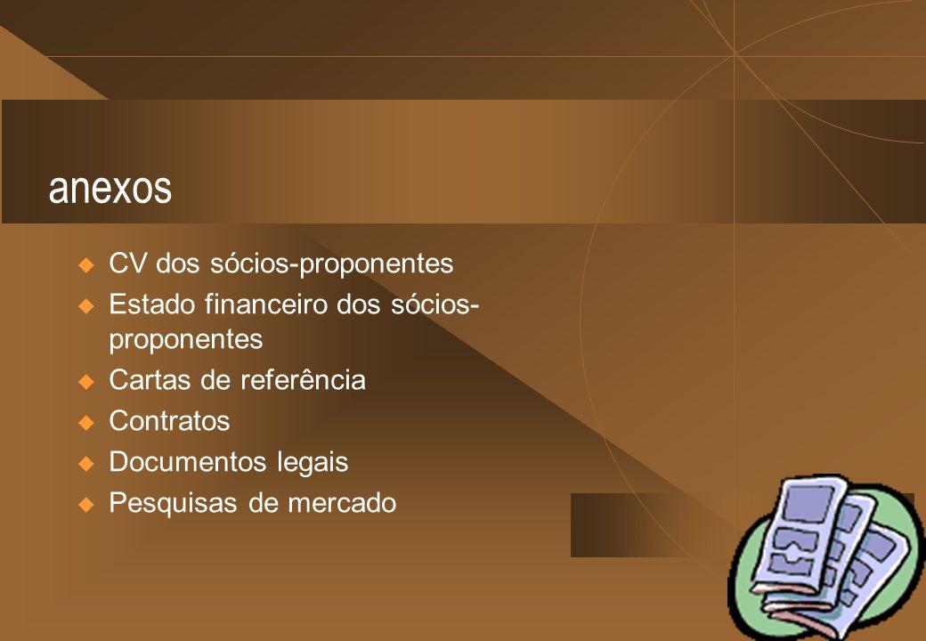 anexos CV dos sócios-proponentes Estado financeiro dos sócios- proponentes Cartas de referência Contratos Documentos legais Pesquisas de mercado