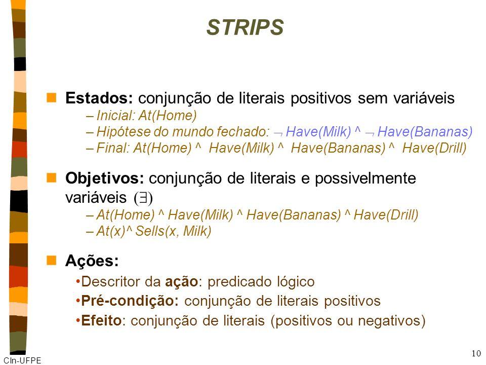 CIn-UFPE 9 STRIPS (STanford Research Institute Problem Solver) Linguagem específica para planejamento