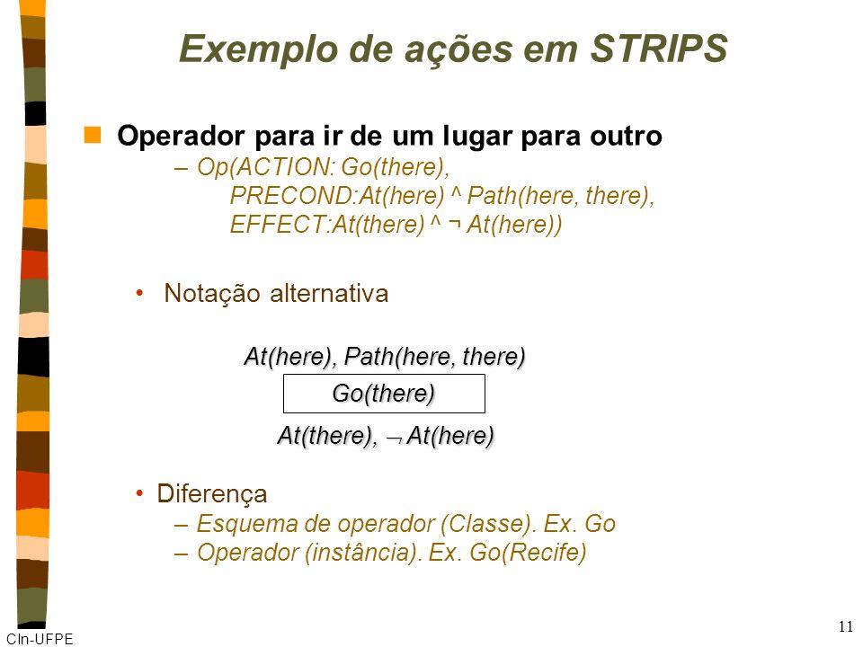 CIn-UFPE 10 STRIPS nEstados: conjunção de literais positivos sem variáveis –Inicial: At(Home) –Hipótese do mundo fechado: Have(Milk) ^ Have(Bananas) –