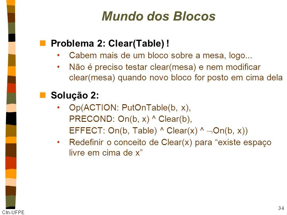 CIn-UFPE 33 Mundo dos blocos nProblema 1 como representar em Strips que não há nada sobre um bloco? Não podemos usar x on(x,b) ou x on(x,b) Solução: C
