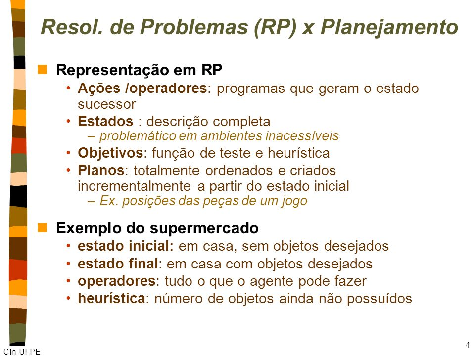 CIn-UFPE 3 Agente Planejador Simples n3 fases Percepção do ambiente Planejamento (tempo ilimitado) Execução do plano (passo a passo) nAlgoritmo Functi
