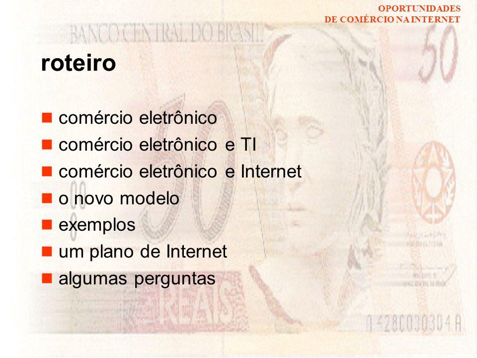 OPORTUNIDADES DE COMÉRCIO NA INTERNET comércio eletrônico: novos modelos de negócio na economia global hermano perrelli de moura http://www.di.ufpe.br