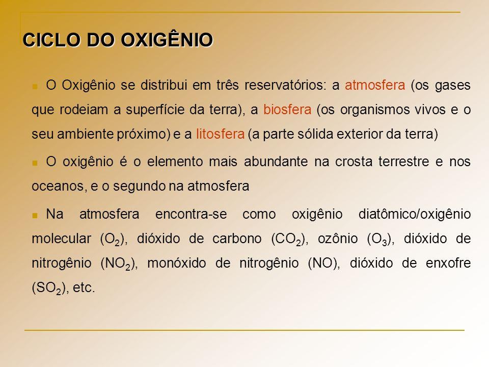 CICLO DO OXIGÊNIO O Oxigênio se distribui em três reservatórios: a atmosfera (os gases que rodeiam a superfície da terra), a biosfera (os organismos v