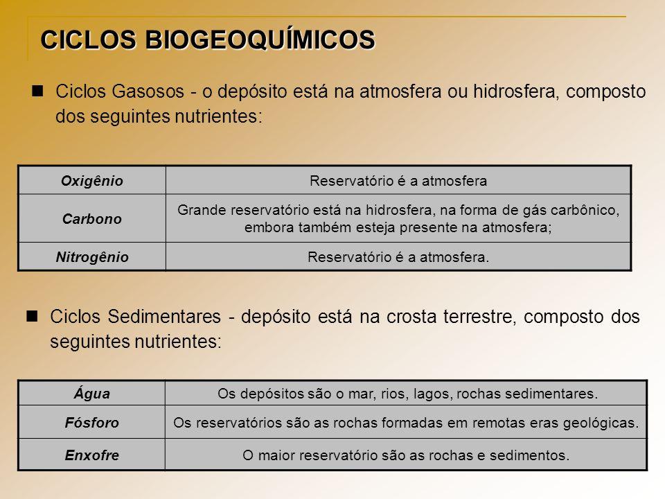 CICLOS BIOGEOQUÍMICOS Ciclos Gasosos - o depósito está na atmosfera ou hidrosfera, composto dos seguintes nutrientes: OxigênioReservatório é a atmosfe