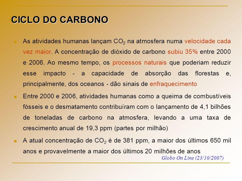 As atividades humanas lançam CO 2 na atmosfera numa velocidade cada vez maior. A concentração de dióxido de carbono subiu 35% entre 2000 e 2006. Ao me