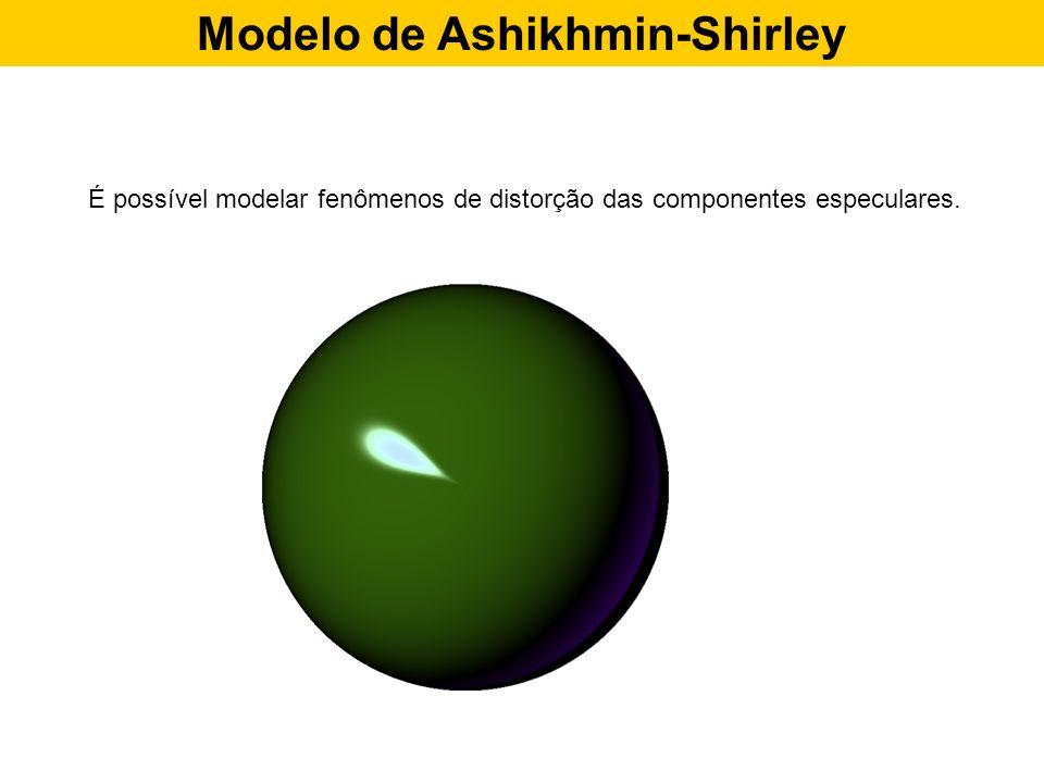 Modelo de Ashikhmin-Shirley É possível modelar fenômenos de distorção das componentes especulares.