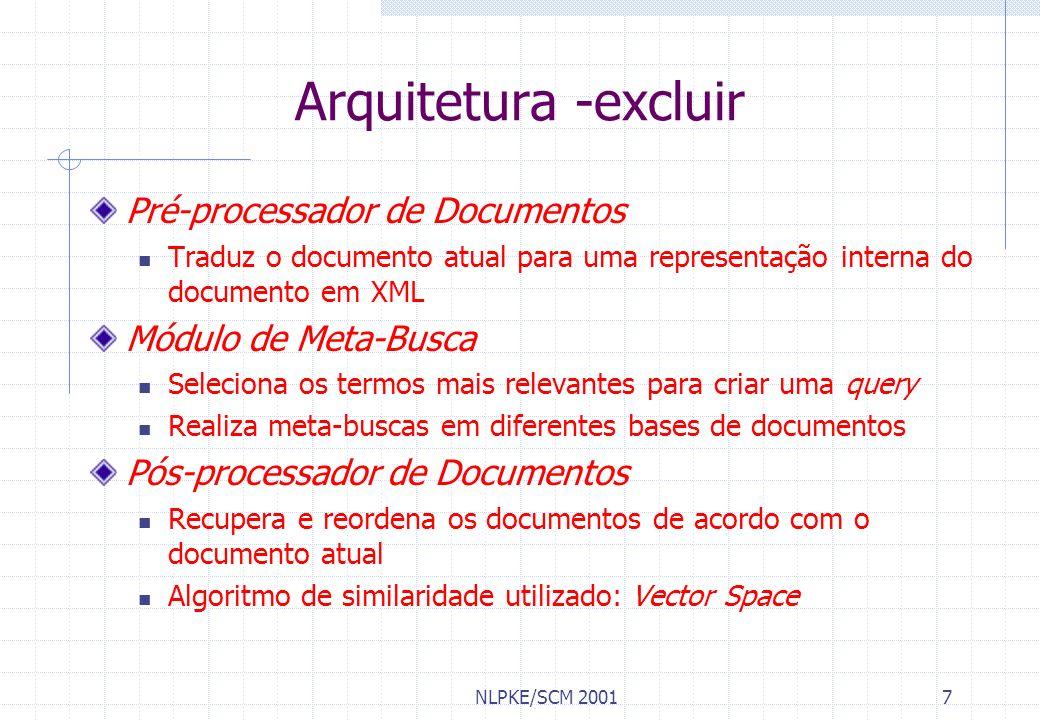 NLPKE/SCM 20018 Protótipo Busca por documentos semelhantes Ao que está sendo visualizado pelo usuário, OU A um trecho do documento selecionado pelo usuário Drag and drop Implementado em Delphi 5.0 Usa tecnologia COM: Comunicação com outras aplicações MS Word, MS Internet Explorer, etc