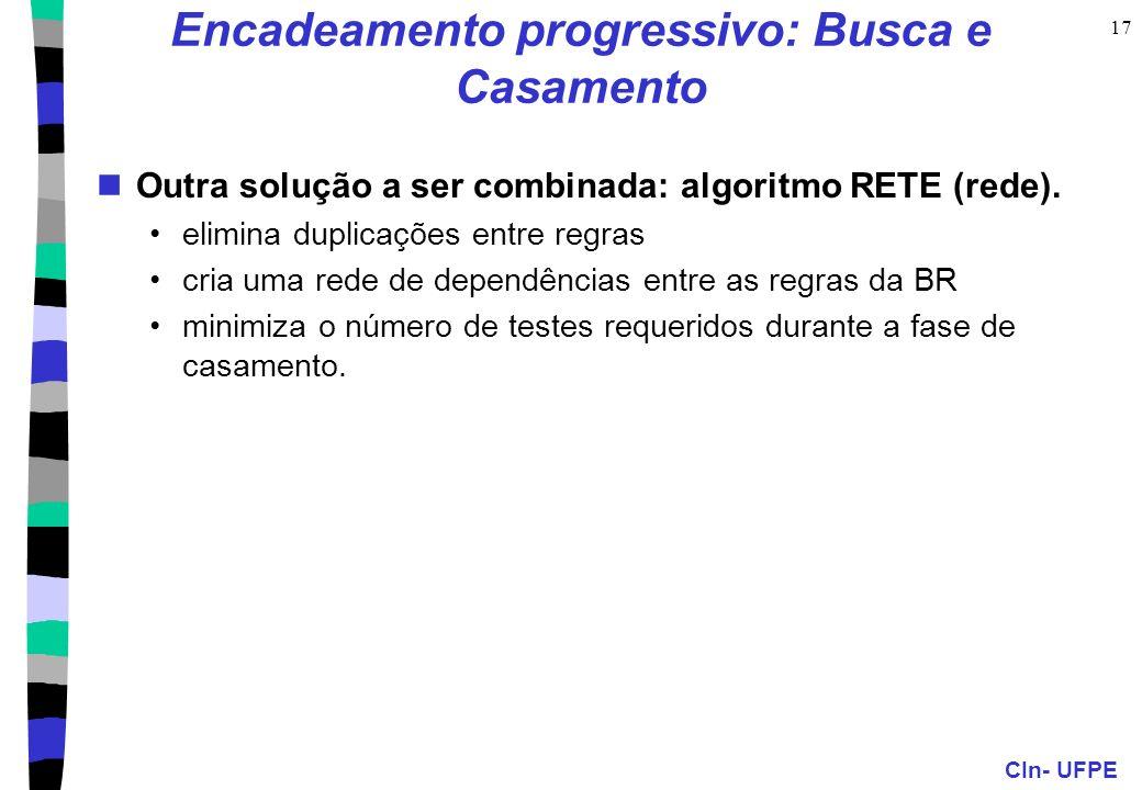CIn- UFPE 17 Encadeamento progressivo: Busca e Casamento Outra solução a ser combinada: algoritmo RETE (rede). elimina duplicações entre regras cria u