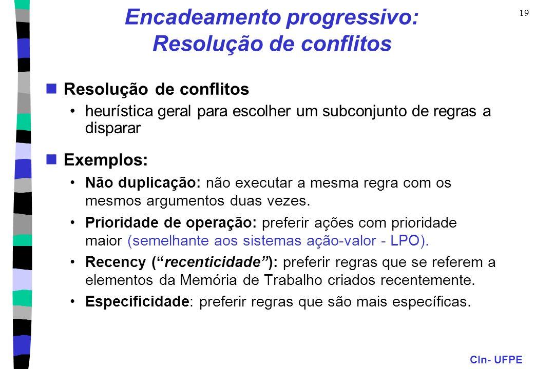 CIn- UFPE 19 Encadeamento progressivo: Resolução de conflitos Resolução de conflitos heurística geral para escolher um subconjunto de regras a dispara