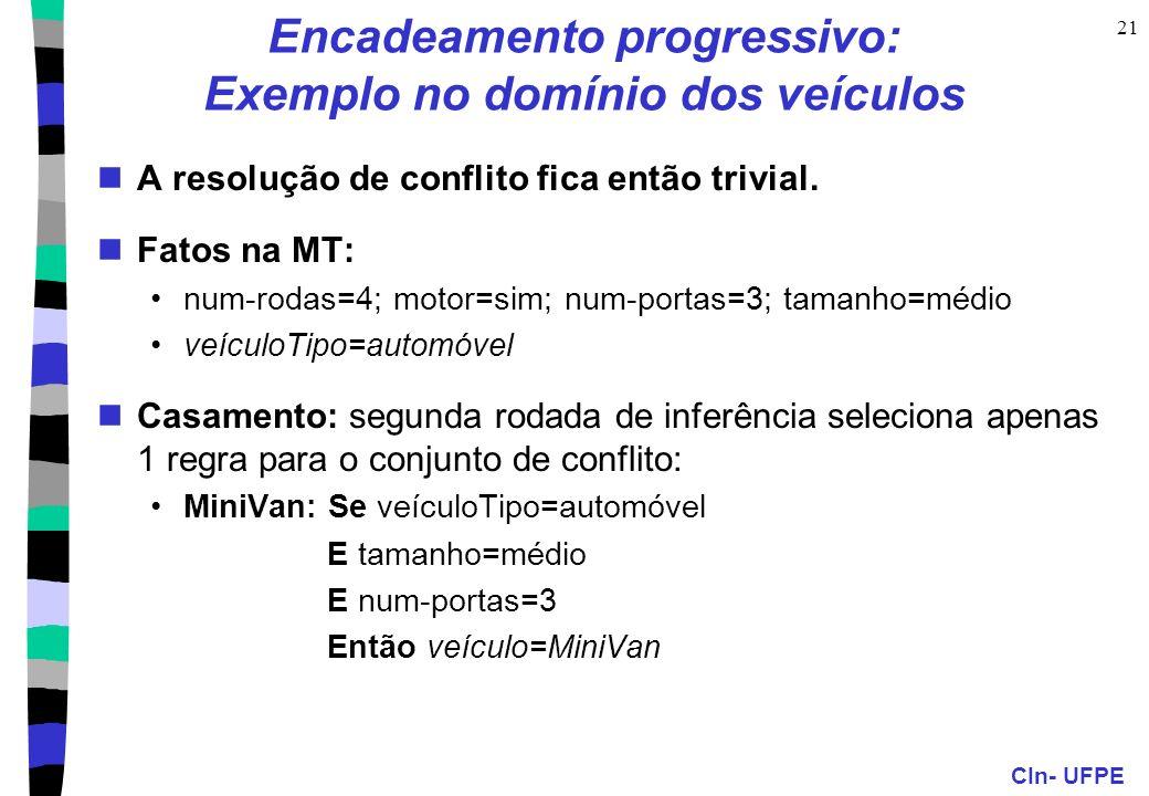 CIn- UFPE 21 Encadeamento progressivo: Exemplo no domínio dos veículos A resolução de conflito fica então trivial. Fatos na MT: num-rodas=4; motor=sim