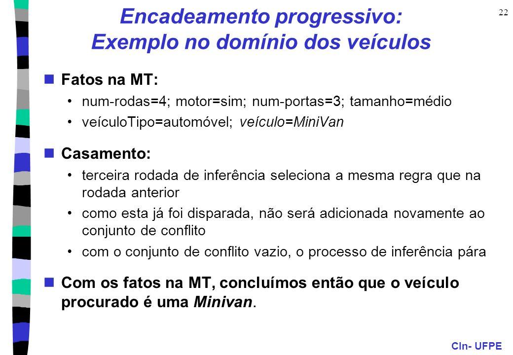 CIn- UFPE 22 Encadeamento progressivo: Exemplo no domínio dos veículos Fatos na MT: num-rodas=4; motor=sim; num-portas=3; tamanho=médio veículoTipo=au