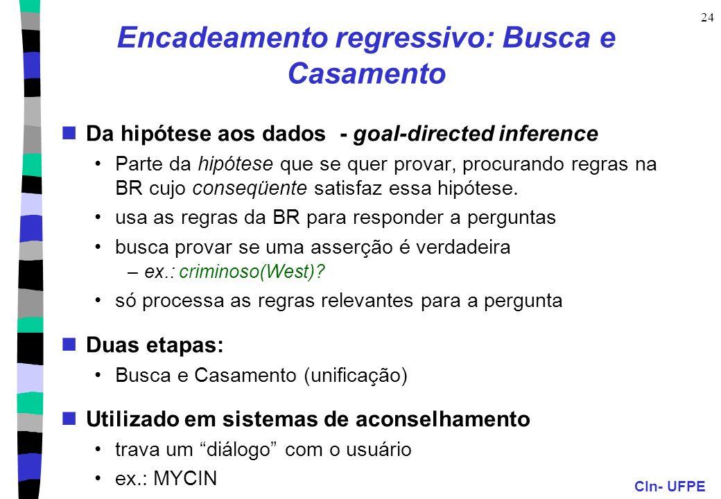 CIn- UFPE 24 Encadeamento regressivo: Busca e Casamento Da hipótese aos dados - goal-directed inference Parte da hipótese que se quer provar, procuran