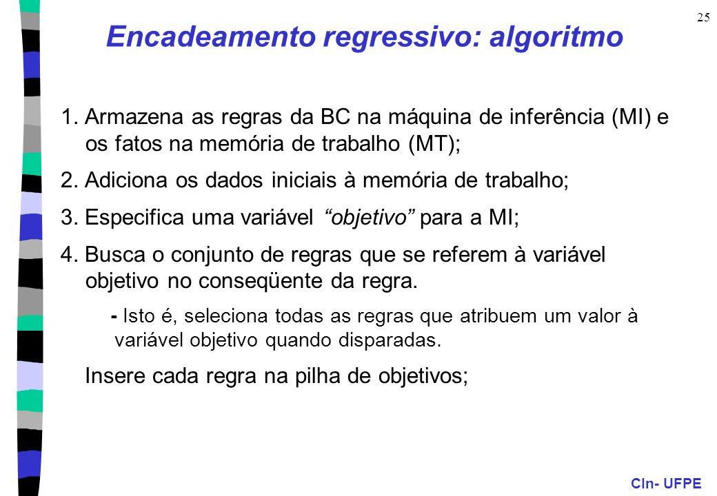 CIn- UFPE 25 Encadeamento regressivo: algoritmo 1. Armazena as regras da BC na máquina de inferência (MI) e os fatos na memória de trabalho (MT); 2. A