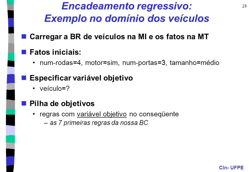 CIn- UFPE 28 Encadeamento regressivo: Exemplo no domínio dos veículos Carregar a BR de veículos na MI e os fatos na MT Fatos iniciais: num-rodas=4, mo