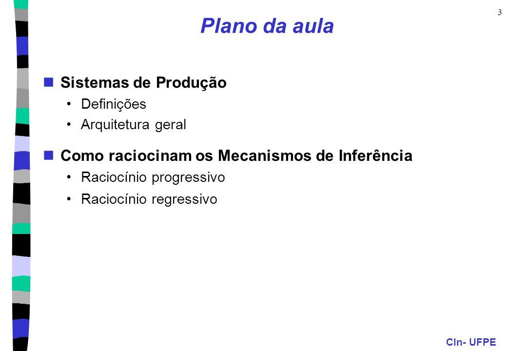 CIn- UFPE 3 Plano da aula Sistemas de Produção Definições Arquitetura geral Como raciocinam os Mecanismos de Inferência Raciocínio progressivo Raciocí