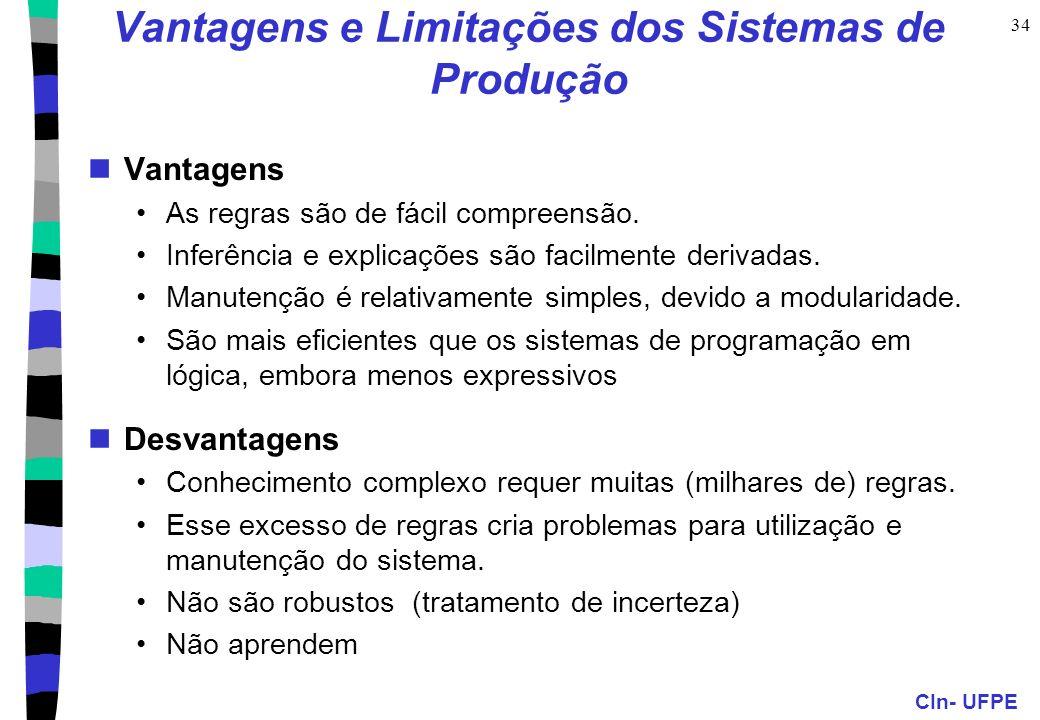 CIn- UFPE 34 Vantagens e Limitações dos Sistemas de Produção Vantagens As regras são de fácil compreensão. Inferência e explicações são facilmente der