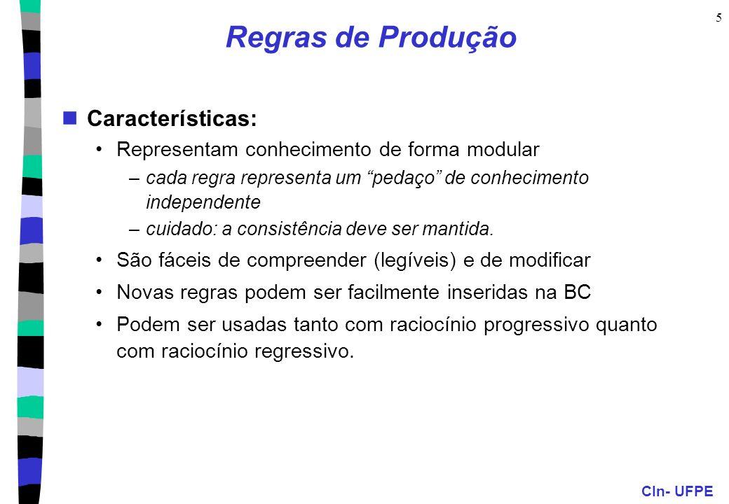 CIn- UFPE 6 Sistemas de Produção São sistemas baseados em regras de produção Consistem em 3 módulos principais: A Base de Regras (BR): permanente –regras se-então e fatos conhecidos A Memória de Trabalho: temporária –base de fatos derivados durante a vida do agente –percepções do agente e fatos gerados a partir da BR pelo mecanismo de inferência O Mecanismo (máquina) de Inferência –determina o método de raciocínio utilizado (progressivo ou regressivo) –utiliza estratégias de busca com casamento (unificação) –resolve conflitos e executa ações.