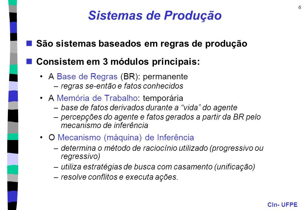 CIn- UFPE 6 Sistemas de Produção São sistemas baseados em regras de produção Consistem em 3 módulos principais: A Base de Regras (BR): permanente –reg