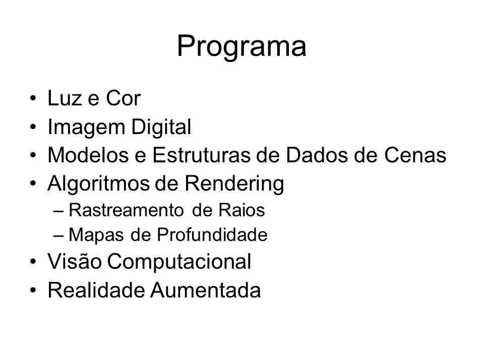 Programa Luz e Cor Imagem Digital Modelos e Estruturas de Dados de Cenas Algoritmos de Rendering –Rastreamento de Raios –Mapas de Profundidade Visão Computacional Realidade Aumentada