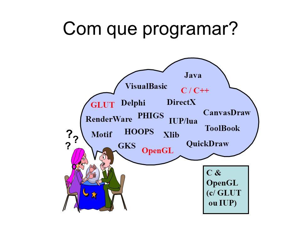 Com que programar? Motif GLUT GKS OpenGL QuickDraw Xlib IUP/lua VisualBasic DirectX Java ToolBook C / C++ PHIGS HOOPS ? ? ? Delphi RenderWare CanvasDr