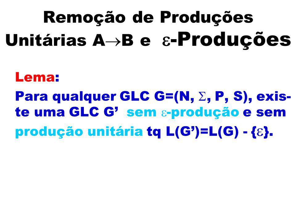 Remoção de Produções Unitárias A B e -Produções Lema: Para qualquer GLC G=(N,, P, S), exis- te uma GLC G sem -produção e sem produção unitária tq L(G)