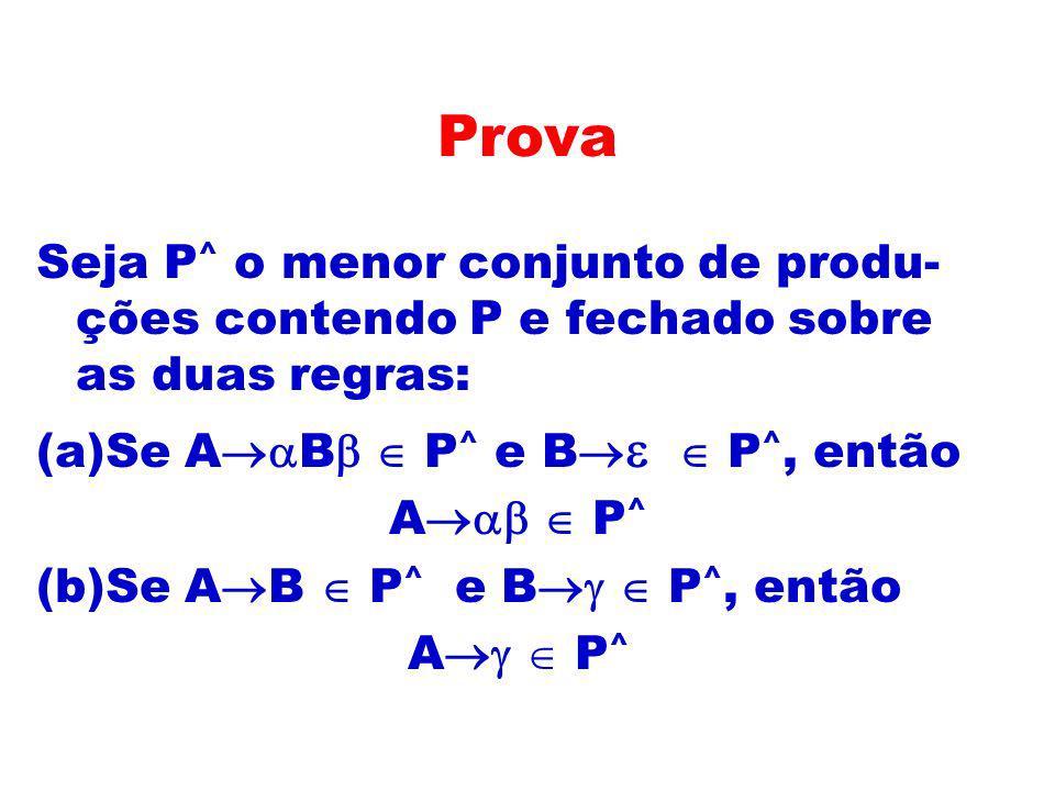 Prova Seja P ^ o menor conjunto de produ- ções contendo P e fechado sobre as duas regras: (a)Se A B P ^ e B P ^, então A P ^ (b)Se A B P ^ e B P ^, en