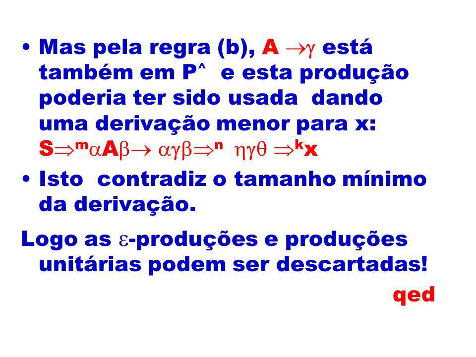 Mas pela regra (b), A está também em P ^ e esta produção poderia ter sido usada dando uma derivação menor para x: S m A n k x Isto contradiz o tamanho